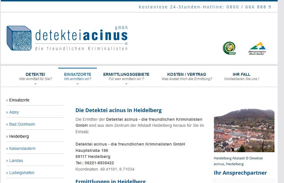 Detektiv in Heidelberg - Einsatzorte