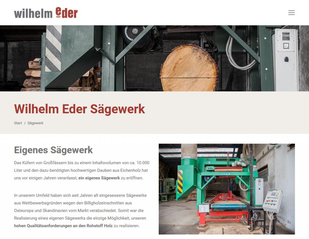 Webseite Wilhelm Eder GmbH, Sägewerk