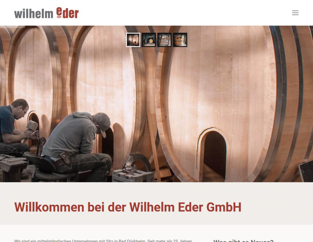 Webseite Wilhelm Eder GmbH, Startseite